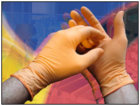 "Nitrile Powder Free Exam Gloves  10"" (Orange)"